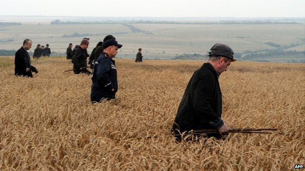 A group of Ukrainian miners assist rescue workers in the search for bodies of victims in a wheat field at the site of the crash in rebel-held east Ukraine - 18 July 2014
