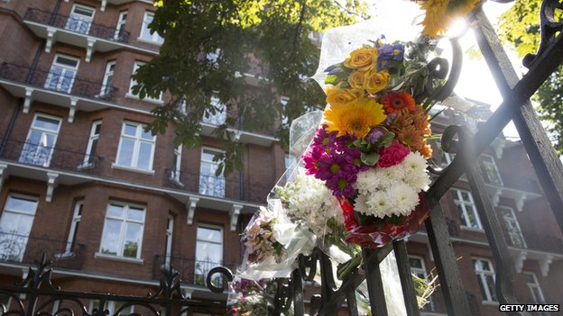 Floral tributes left at the Netherlands Embassy In London