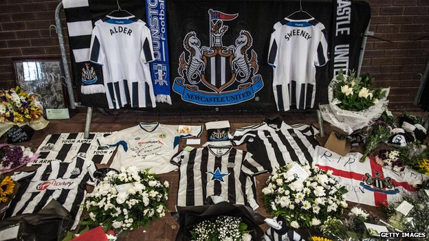 Tributes to John Alder and Liam Sweeney outside Newcastle United's St James Park