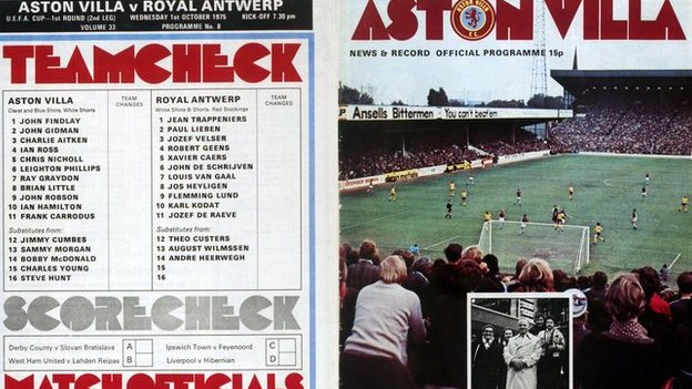 Louis Van Gaal is listed in the Aston Villa match programme for Royal Antwerp's visit in the 1975 Uefa Cup