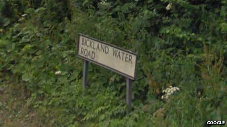 Bickland Water Road sign. Pic: Google