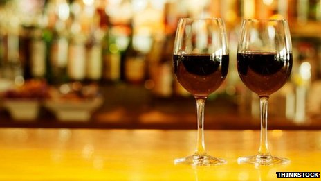Wine glasses on bar. Pic: Thinkstock