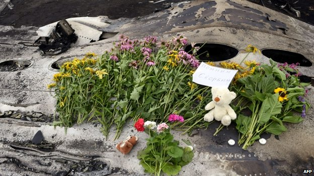 "Flowers, teddy bears and a note reading ""Remember. Mourn"" lie at the crash site. Photo: 19 July 2014"