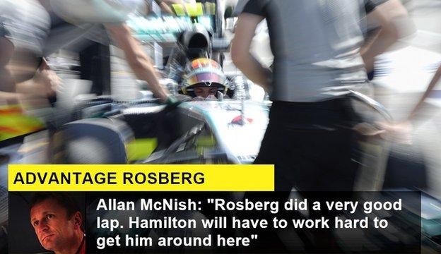 "BBC F1 analyst Allan McNish says Nico Rosberg ""did a very good lap"""