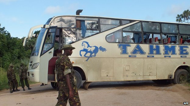Damaged bus near Lamu