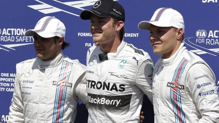 (left to right) Felipe Massa, Nico Rosberg, and Valtteri Bottas