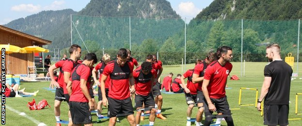 Cardiff City players being put through their paces at their pre-season training camp in Austria