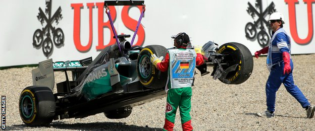 Lewis Hamilton's car being towed away