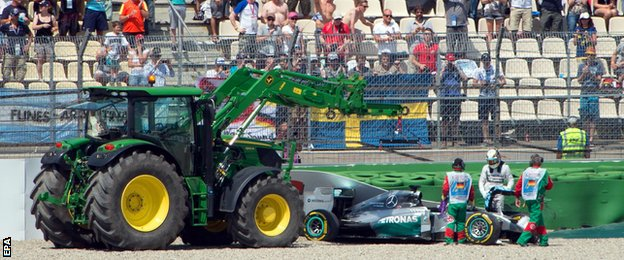 Lewis Hamilton crashed during the German Grand prix