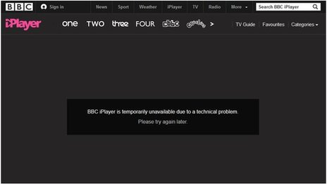 A screenshot from BBC iPlayer. It shows an error message