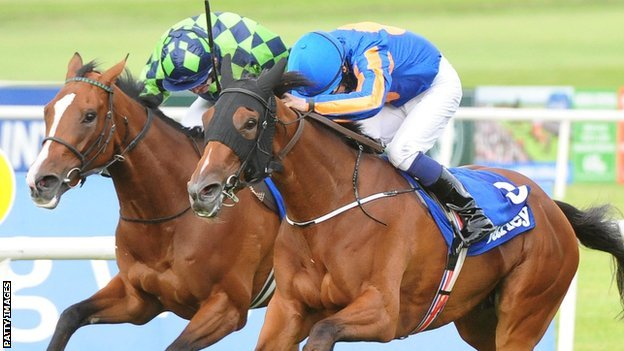 Bracelet wins the Irish Oaks at the Curragh