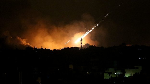 An Israeli airstrike seen in the east of Gaza Strip along the border between Israel and Gaza City - 20 July 2014