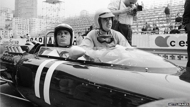 James Garner with Ferrari driver Lorenzo Bandini at the Monaco Grand Prix