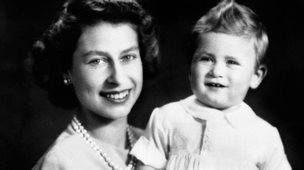 The Queen with Prince Charles on his first birthday