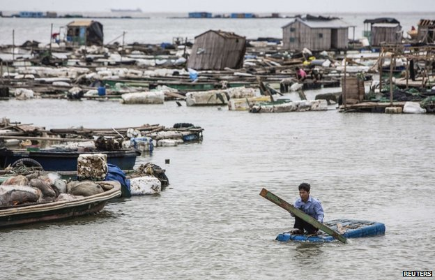 A man checks his fish farms in the aftermath of the typhoon in Leizhou, in China's Guangdong province, 19 July