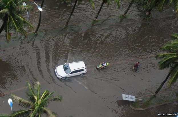 Flooding in Haikou, in China's Hainan province, 19 July