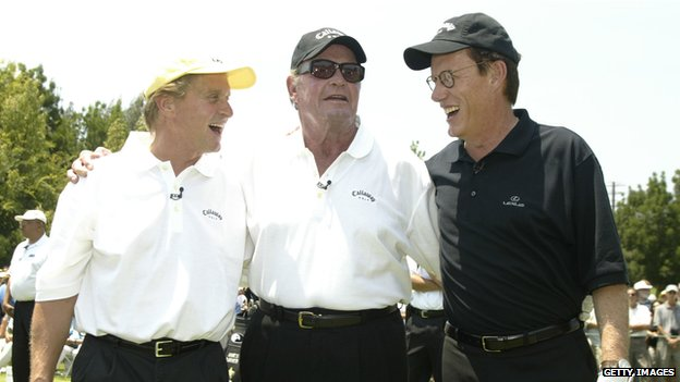 James Garner with Michael Douglas and James Woods