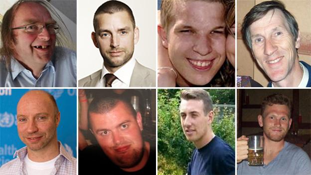 John Alder, John Allen, Robert Ayley, Andrew Hoare, Richard Mayne, Ben Pocock, Liam Sweeney and Glenn Thomas