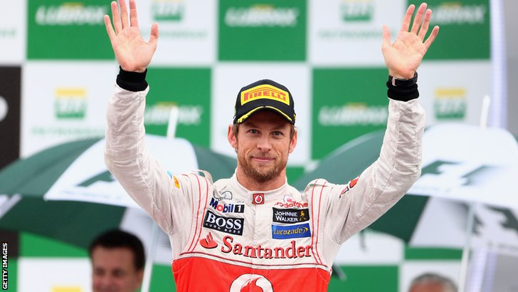Jenson Button wins the 2012  Brazilian Grand Prix