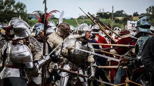 Battle re-enactment at Tewkesbury Medieval Festival.