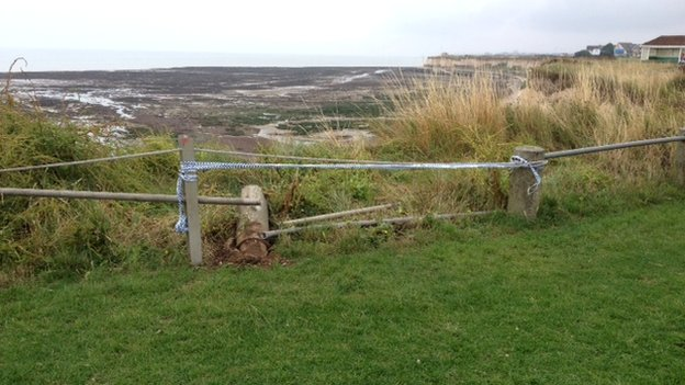 Car cliff fall at Birchington
