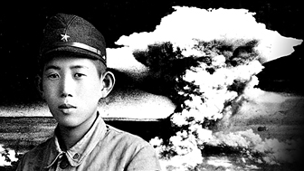 Shinji Mikamo as a boy, and Hiroshima bomb cloud