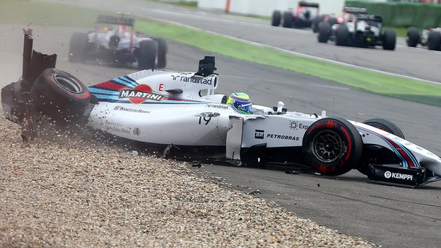 Williams' Felipe Massa flips in Hockenheim