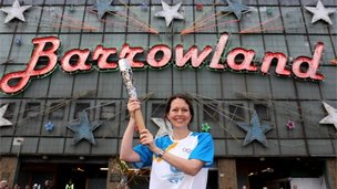 "Batonbearer 005 Sarah McGibbon carries the Glasgow 2014 Queen""s Baton at the Barrowland"