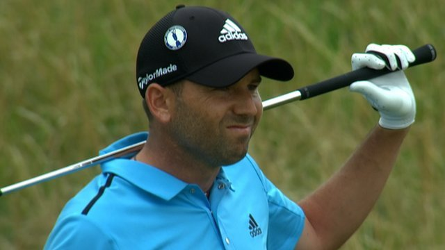 Sergio Garcia on the 12th at Hoylake