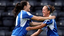 Birmingham goalscorer Jo Potter (right) celebrates with team-mate Karen Carney