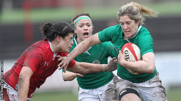 Ireland's Alison Miller on the attack against Wales in the Women's 2013 Six Nations