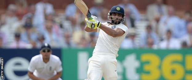 Ravindra Jadeja batting for India against England at Lord's