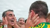 Jim McGuinness embraces his Donegal captain Michael Murphy after the county's Ulster Final triumph