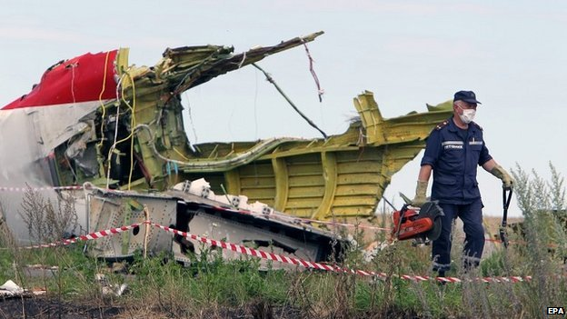 A rescue worker inspects the main crash site of the Boeing 777 in Grabove - 20 July 2014