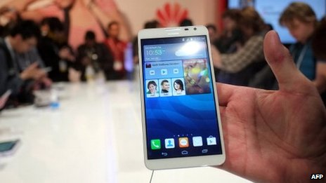 Huawei smartphone on display