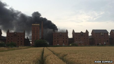 Fire at Bass Maltings