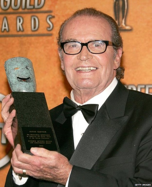 James Garner with Screen Actors Guild lifetime achievement award