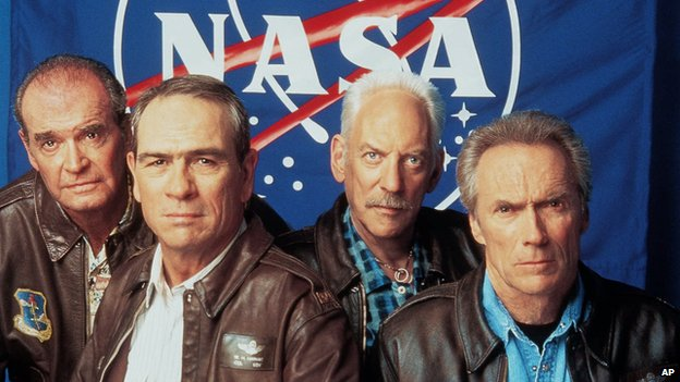James Garner, Tommy Lee Jones, Donald Sutherland and Clint Eastwood in Space Cowboys in 2000