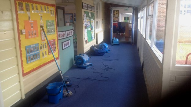 Lionwood School in Norwich flooded