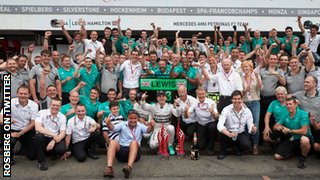 Nico Rosberg celebrates his German GP win