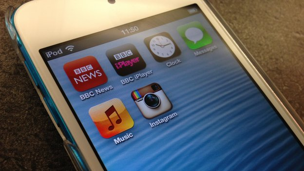 iPod touch screen with icons for BBC News, BBC iPlayer and Instagram