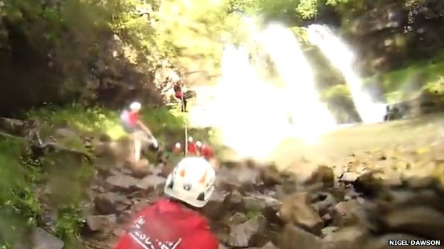 rescue from Ystradfellte waterfalls