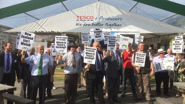 farmers protesting against Tesco at Royal Welsh Show