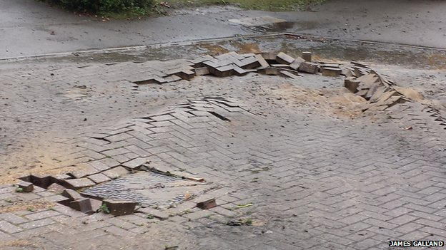 Suspected lightning strike on road in Hinchingbrooke