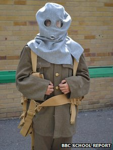 Student wearing World War One attire