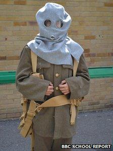 Student wearing World War One attire