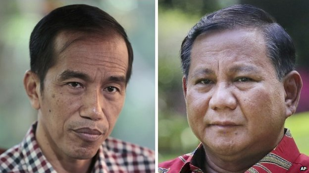 Photo of Joko Widodo (left) and Prabowo Subianto (right)