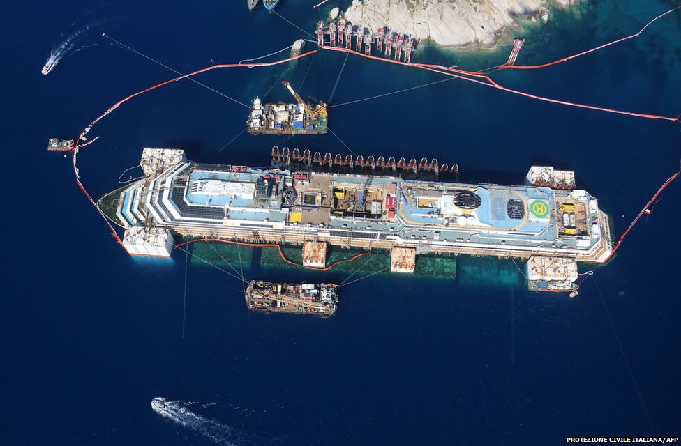 An aerial view of the refloated wreck of the Costa Concordia