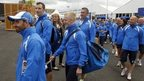 Team Scotland arriving at the Athletes' Village
