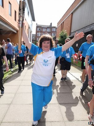 Susan Boyle with the Queen's Baton